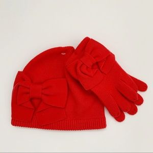 New Kate Spade bow beanie and glove set